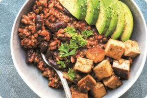 Enchilada Power Bowl with Spicy Tofu