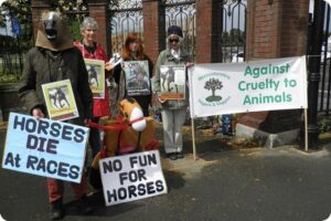 Protest At Worcester Racecourse On 'Family Fun Day' 2