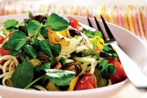 roasted vegetable watercress linguine
