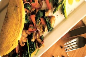 chickpea omelette mushrooms peppers brunch spinach
