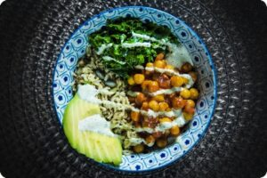 buffalo chickpea protein bowl raw hemp ranch dressing