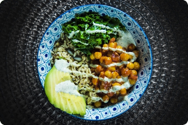 Buffalo Chickpea Protein Bowl with Raw Hemp Ranch Dressing