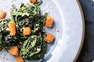 black pasta kale pesto roasted squash