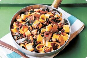 calamarata pasta mushrooms beans greens