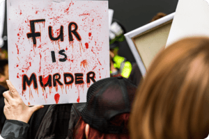 Anti-Fur Protesters Storm London Fashion Week Stage 12