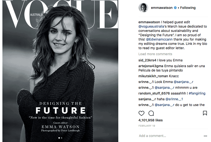 Emma Watson wears vegan Stella McCartney clothes on Vogue cover 2
