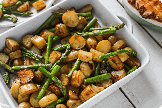 Balsamic Roasted New Potatoes with Asparagus 1