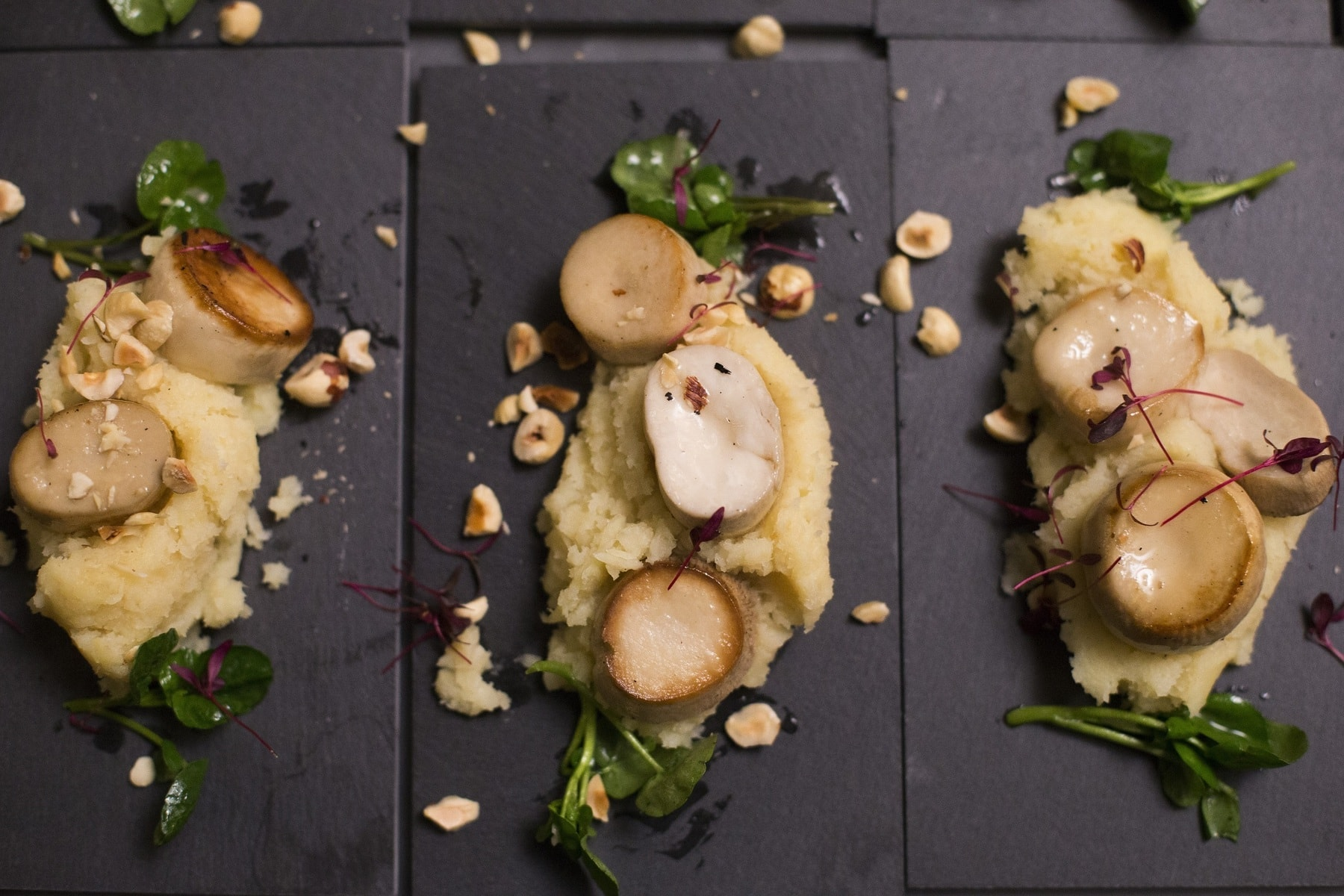 Mushroom Scallops with Apple and Parsnip Mash and Toasted Hazelnuts 1