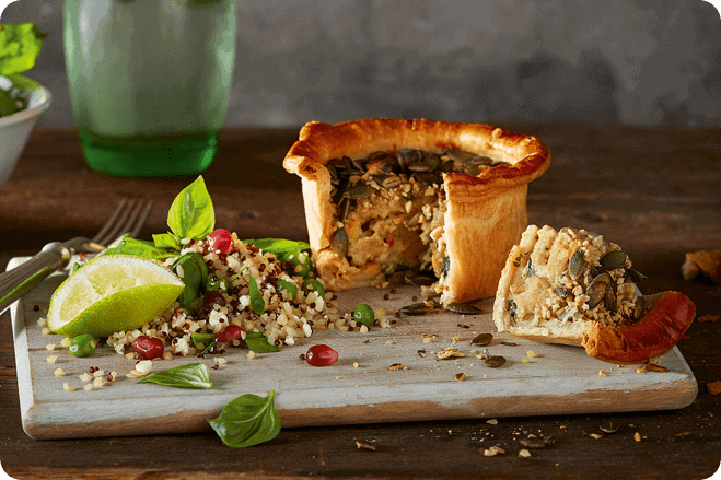 Fully Loaded Chicken-Style Country Pie with Pomegranate & Quinoa Salad