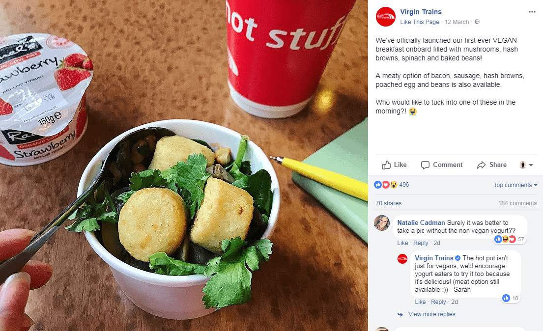 Virgin Trains Serving Cooked Vegan Breakfasts 1