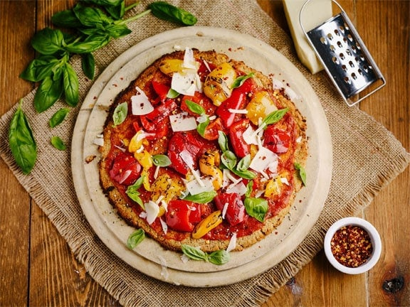 Cauliflower and Cashew Pizza Crust with Speedy Cheats Topping 1