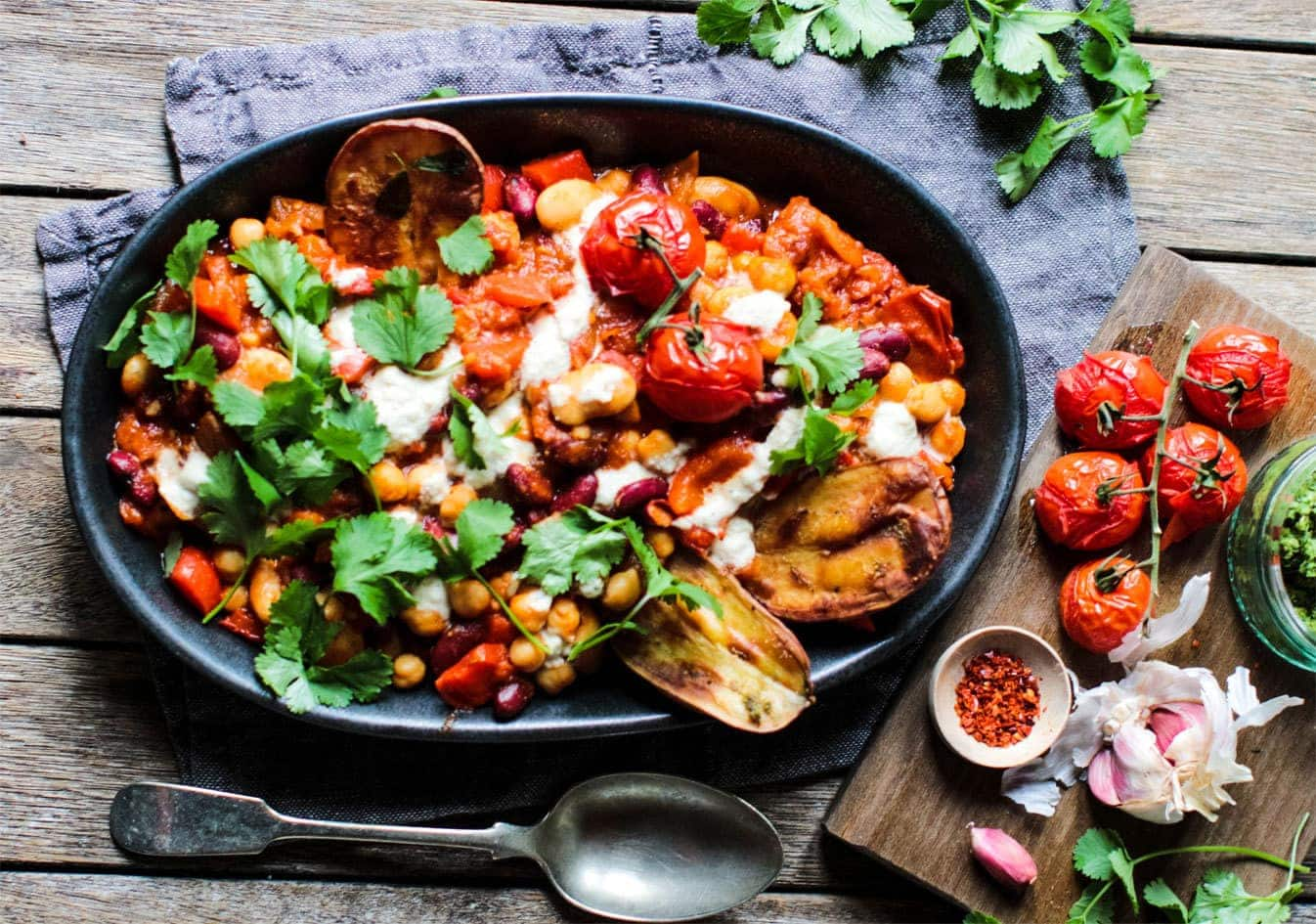 Spicy Beans with a Creamy Cashew Cheese Sauce and Crispy Potato Wedges 1
