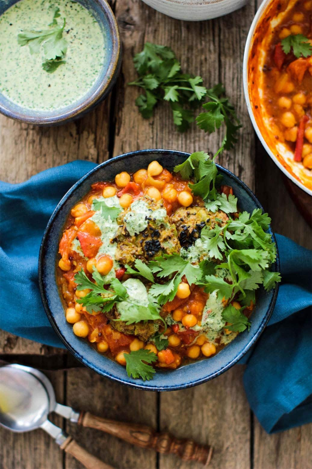 Tomato and Chickpea Curry with Potato and Pea Cakes 1