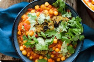 Tomato and Chickpea Curry with Potato and Pea Cakes 12