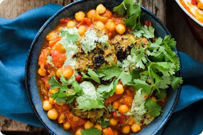 Tomato and Chickpea Curry with Potato and Pea Cakes