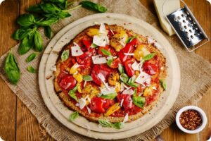 Cauliflower and Cashew Pizza Crust with Speedy Cheats Topping 3