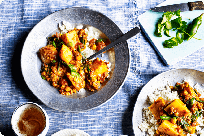 Potato and Lentil Curry with Crumbled Cauliflower
