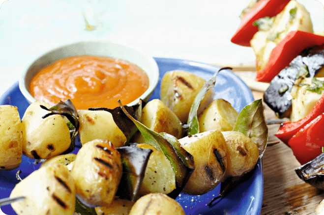 Potato Skewers with Barbecued Ketchup