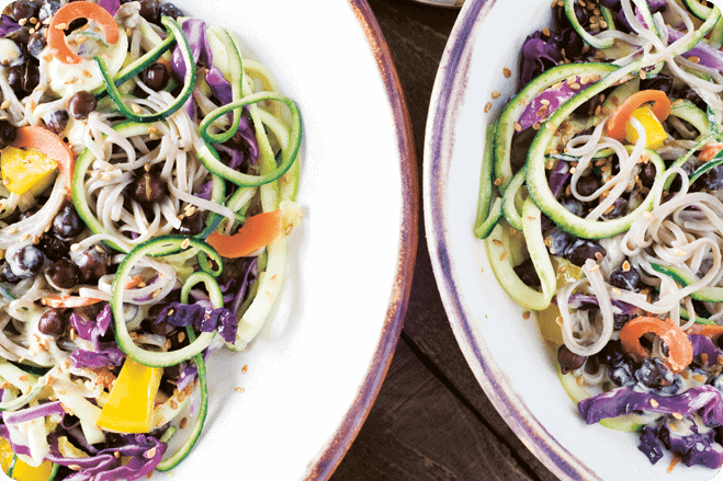 Soba Noodles with Chickpeas & Ginger-Miso Dressing