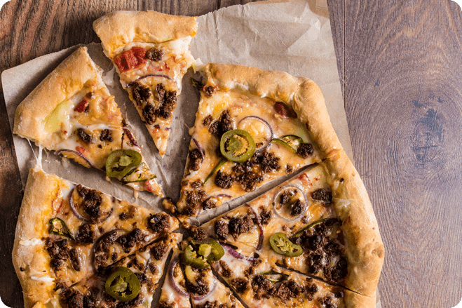 Spicy Beef and Jalepeno Stuffed Crust Pizza