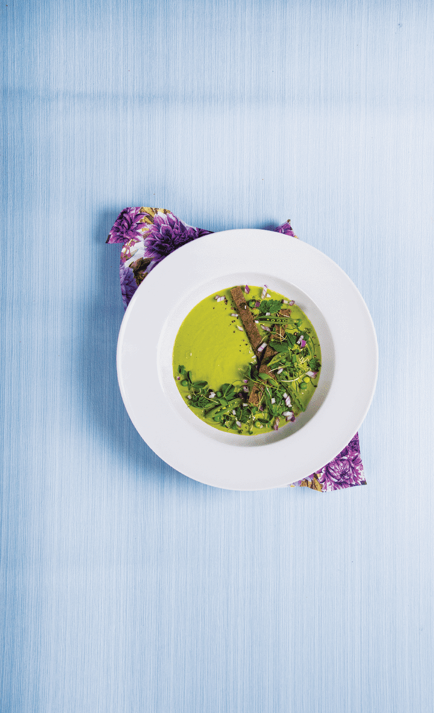 Chilled Avocado, Pea and Basil Soup 1