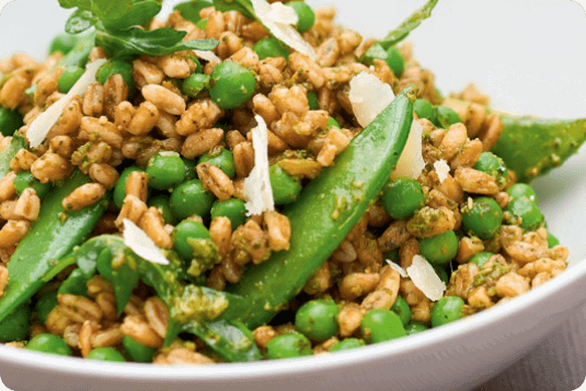 Pea, Sacla' Pesto, Farro and Lemon Salad