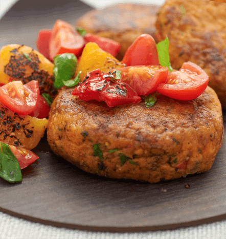 Chickpea and Sacla' Pesto Veggie Burger with Quick Salsa Rossa 1