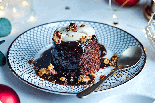 BOSH! X Tesco Christmas Spiced Sticky Toffee Pudding with Brandy Cream
