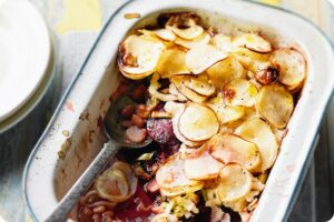 Potato, beetroot & bean boulangere