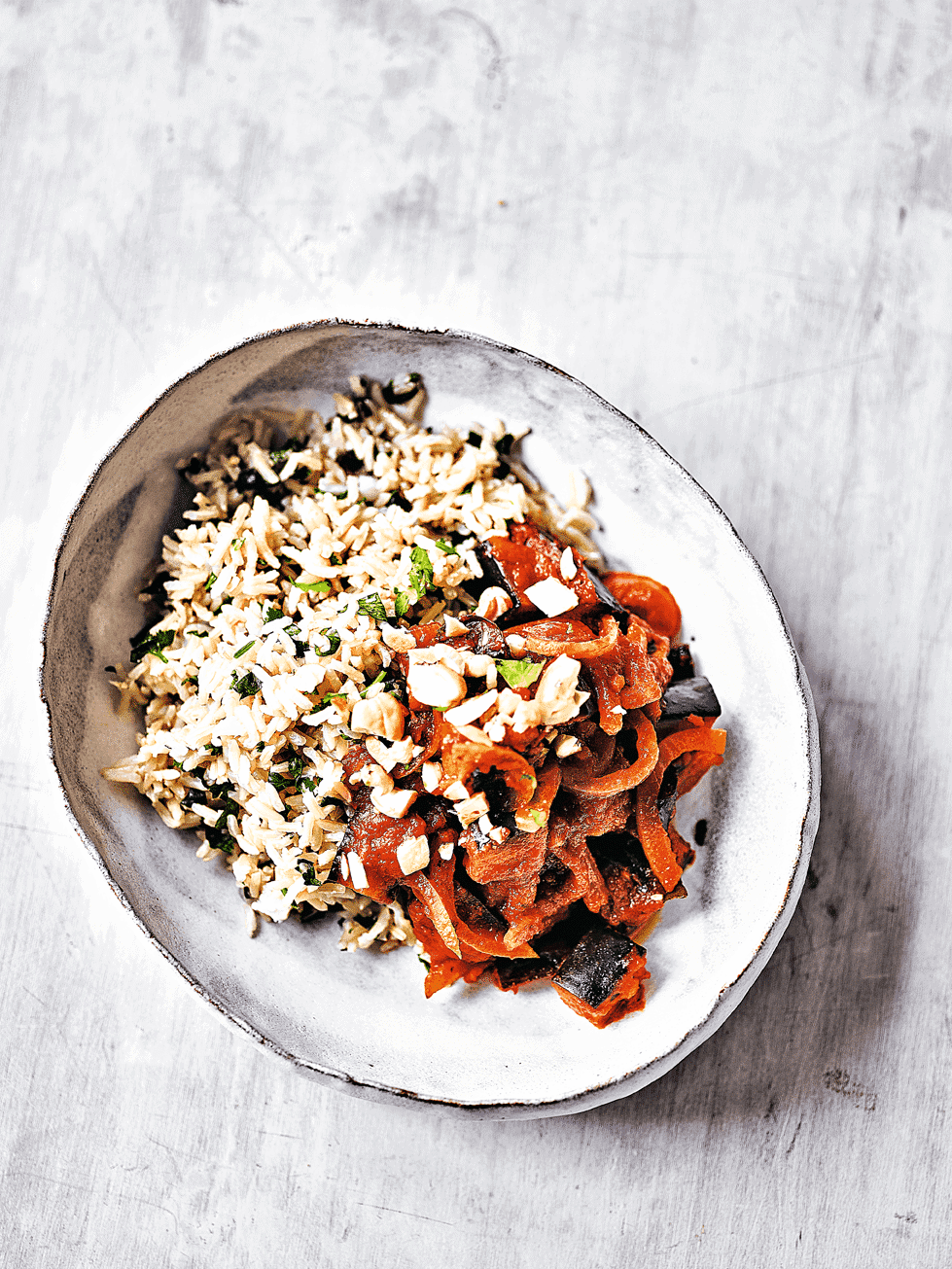 Coconut rice with aubergine & tomato curry 1