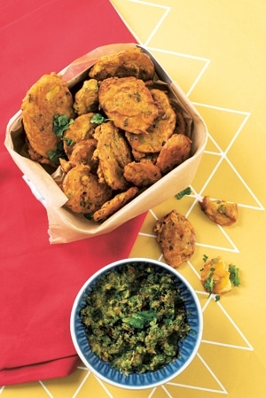 Potato Bhajia with Cucumber and Tomato Relish
