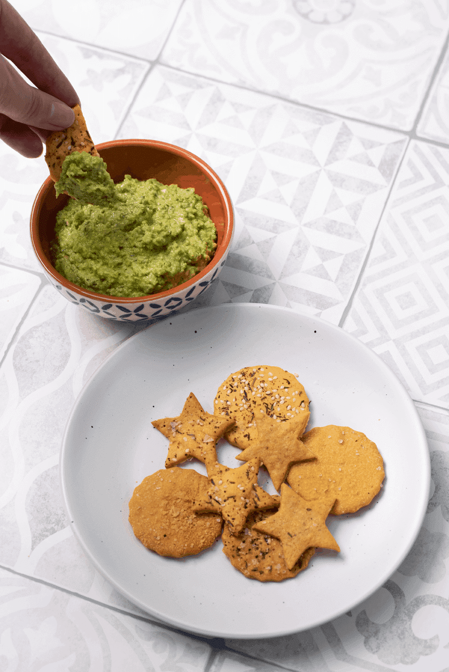 Chickpea Crackers with a Pea Houmous Dip 1