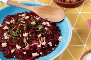 Beetroot Orzo Risotto with Almond Ricotta 8