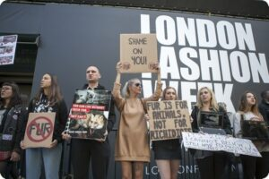 london fashion week fur protest