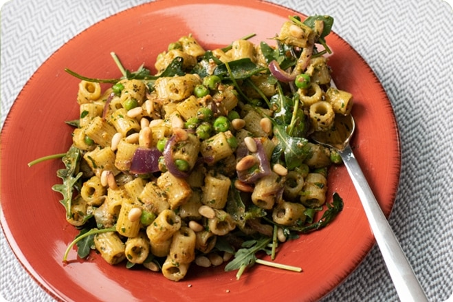 Pea and Sun-Dried tomato Pesto Pasta