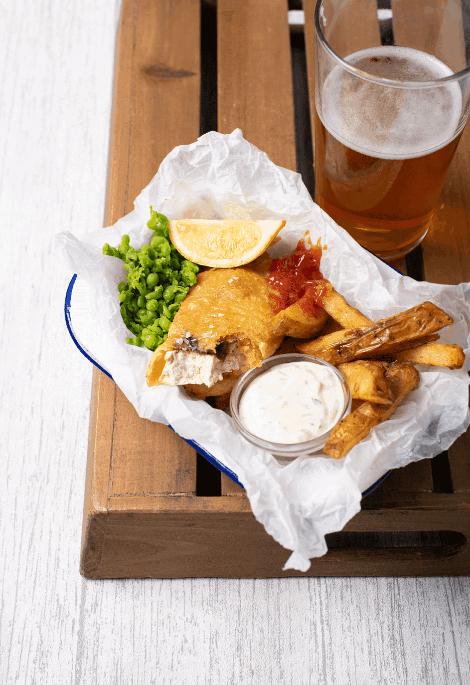 Beer Battered Tofish and Chips 1
