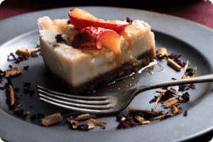 Baked Vanilla Cheesecake with Roasted Plums
