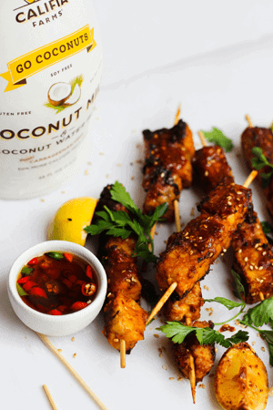 Spicy Coconut Marinated Tempeh Skewers With Chilli Sauce