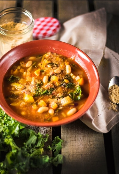 Minestrone with White Beans and Almond Parmesan (oil-free) 1