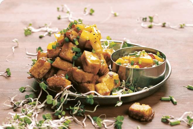 Batter-Fried Tofu Cubes with Pineapple Pepper Chutney