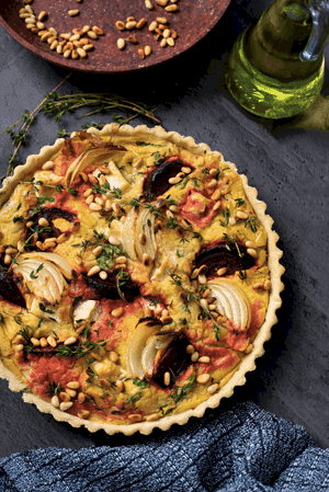 Beetroot, 'Feta' and Thyme Tart