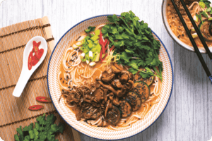 Thai Red Curry Soup with Marinated Mushrooms