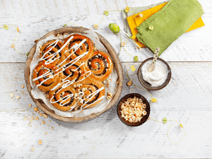 Vegan Date Buns with Violife Creamy Frosting