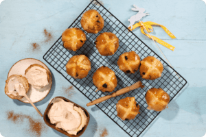Vegan Hot Cross Buns with Violife Creamy Caramel Filling