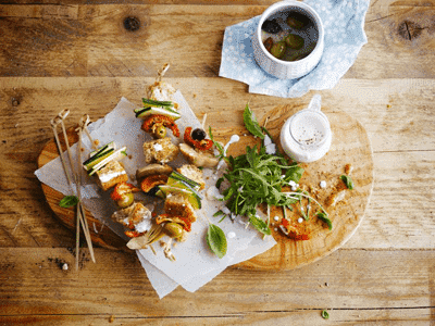 Veggie Barbecue Skewers with Coconut Dressing 1