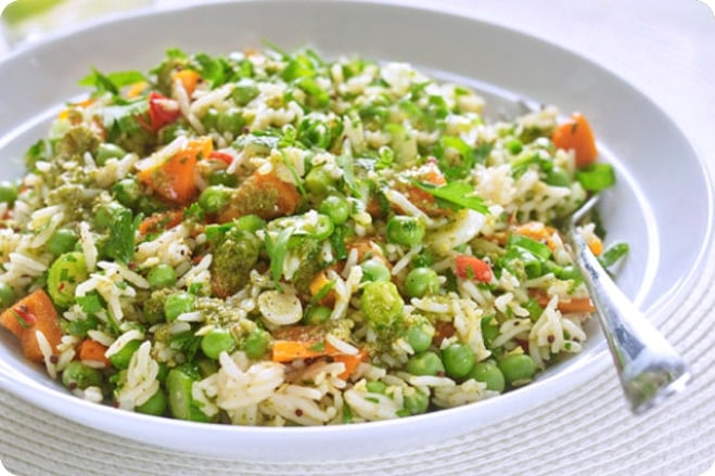 Rice Salad With Sacla' Free From Pesto Dressing