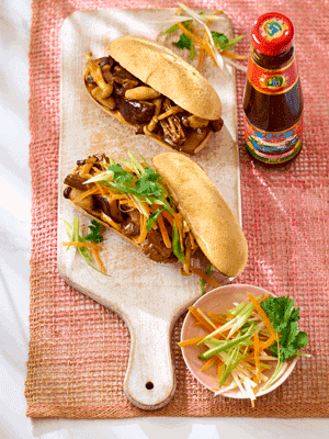 Asian-style Loaded Mushroom Baguette