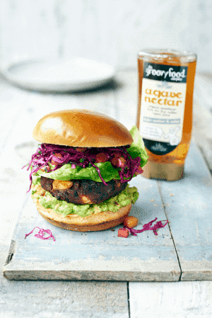 Black Bean & Beetroot Burgers with Mango Slaw