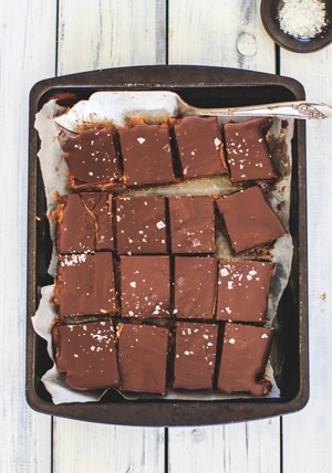 Indulgent Caramel Millionaires Shortbread Slices with Ombar Chocolate 1