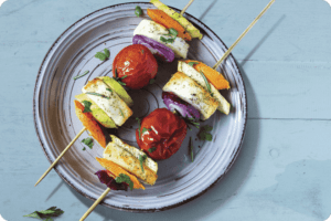 Vegetable Souvlaki with Violife Mediterranean Style Block